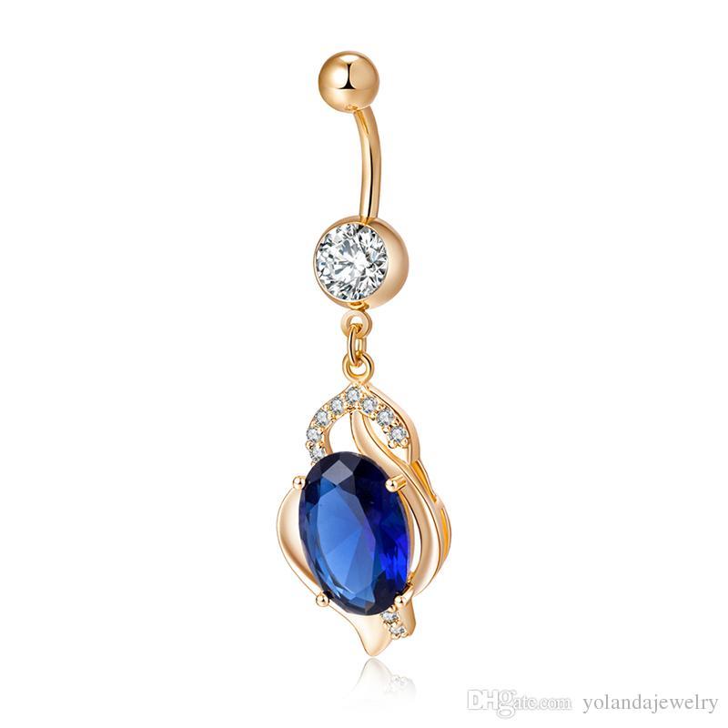 316L Edelstahl funkelnden großen blauen CZ Teardrop Dangle Nabel Ring Kristall Strass Bauch Barbell Piercing Kit für Frauen