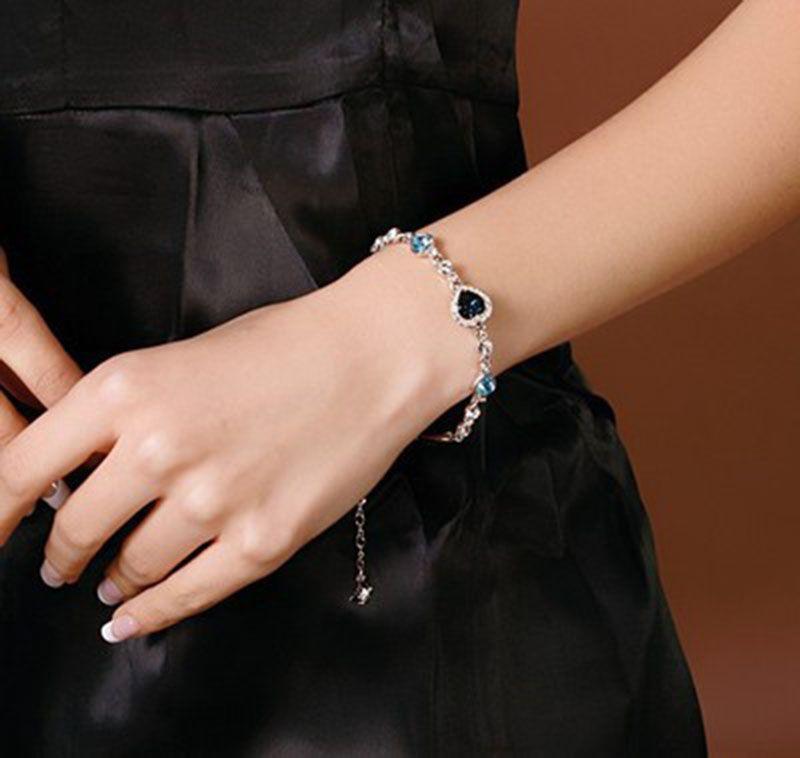 Ocean of Hearts crystal bracelet Fashion Bracelet Wedding Female Crystal Bracelets birthstone Luxury Temperament Jewelry 162285