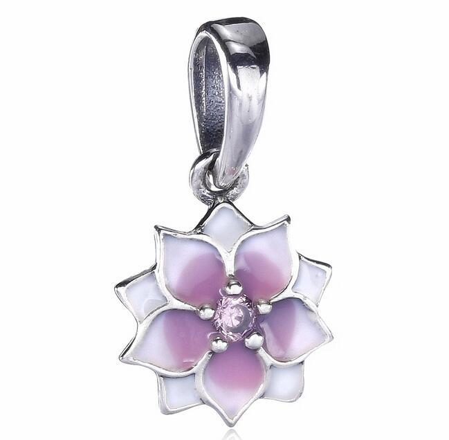 36fc51f64 2019 2017 New Mother Day White Pink Lotus Flower Drop Dangling Charm Fit  For Pandora Bracelet DIY Bead Charm 925 Sterling Silver Jewelry From  Hellojewelry, ...