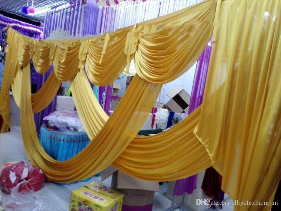 6 متر طول الزفاف خلفية حزب الديكور الجليد الحرير النسيج الستائر الذهب غنيمة مرحلة الستارة ستارة خلفية خلفية سوجس