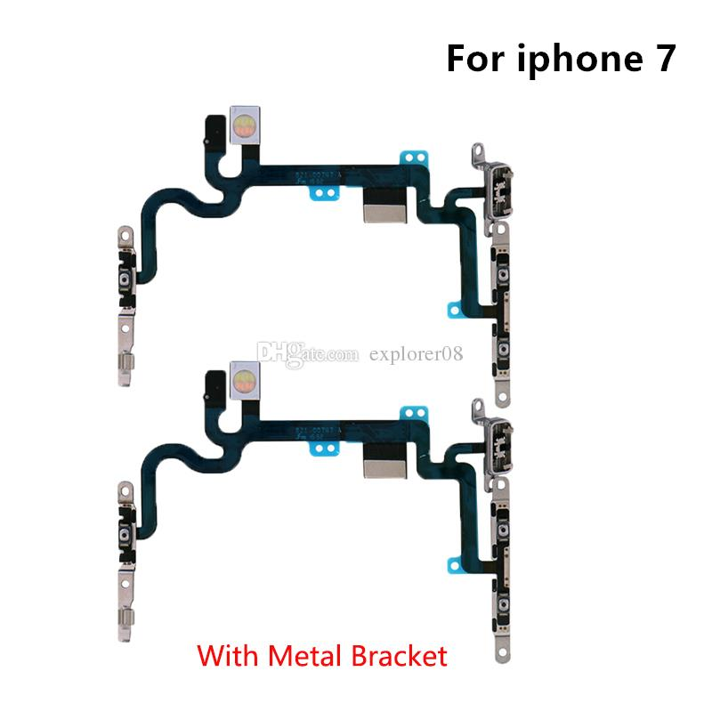 Power Volume Button Mute Switch On Off Flex Cable With Metal Bracket Replacement For iPhone 7G 4.7'' 7 Plus 5.5''