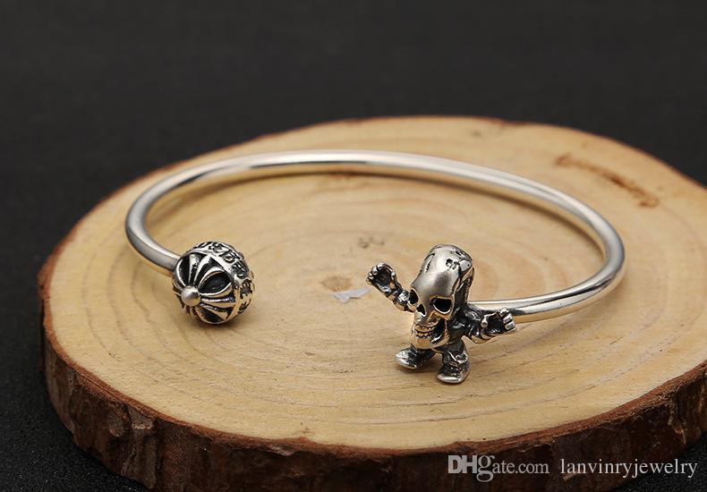 شخصية 925 الاسترليني والفضة والمجوهرات المصنوعة يدويا مصمم عبر جمجمة الهيكل العظمي نمط خمر أساور سوار قابل للتعديل للنساء