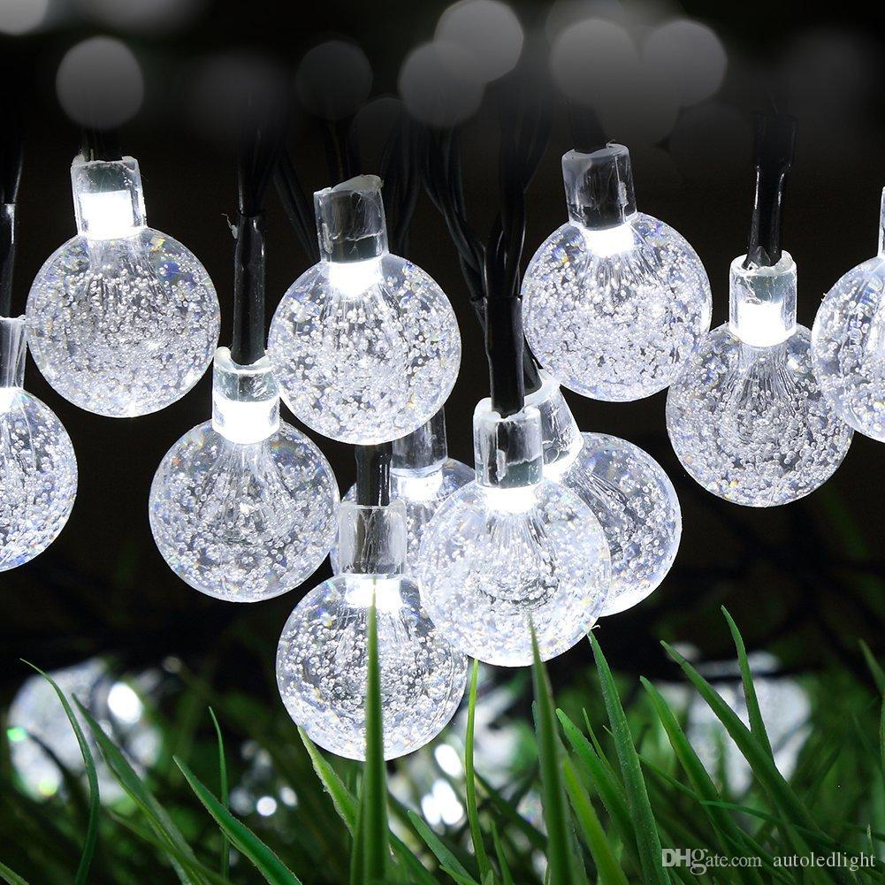 Solar String Lights 20ft 30 LED White Crystal Ball Waterproof Outdoor String Lights Solar Powered Globe Fairy String Lights for Garden, Home