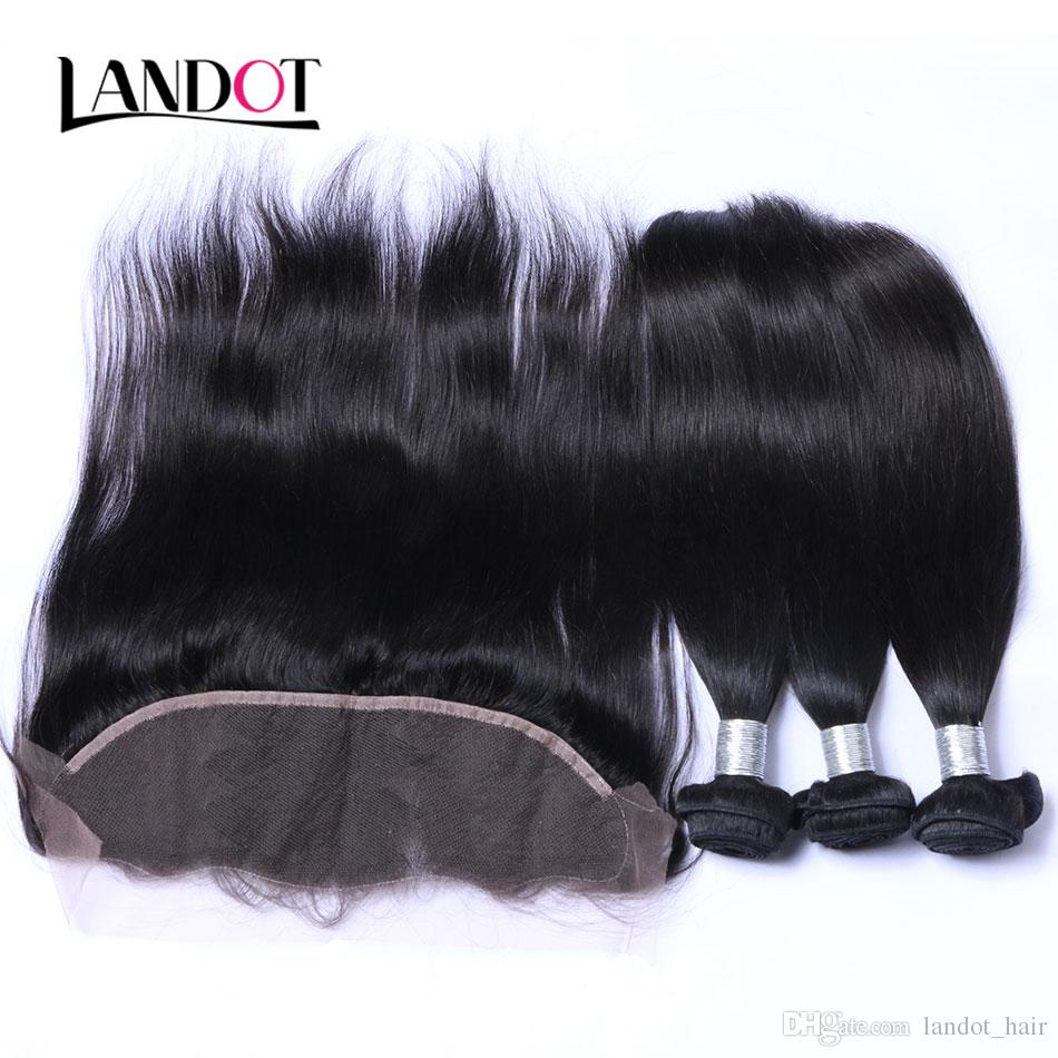 Ear to Ear Lace Frontal Closure With 3 Bundles Brazilian Virgin Hair Weaves Straight Peruvian Indian Malaysian Cambodian Human Hair Closures
