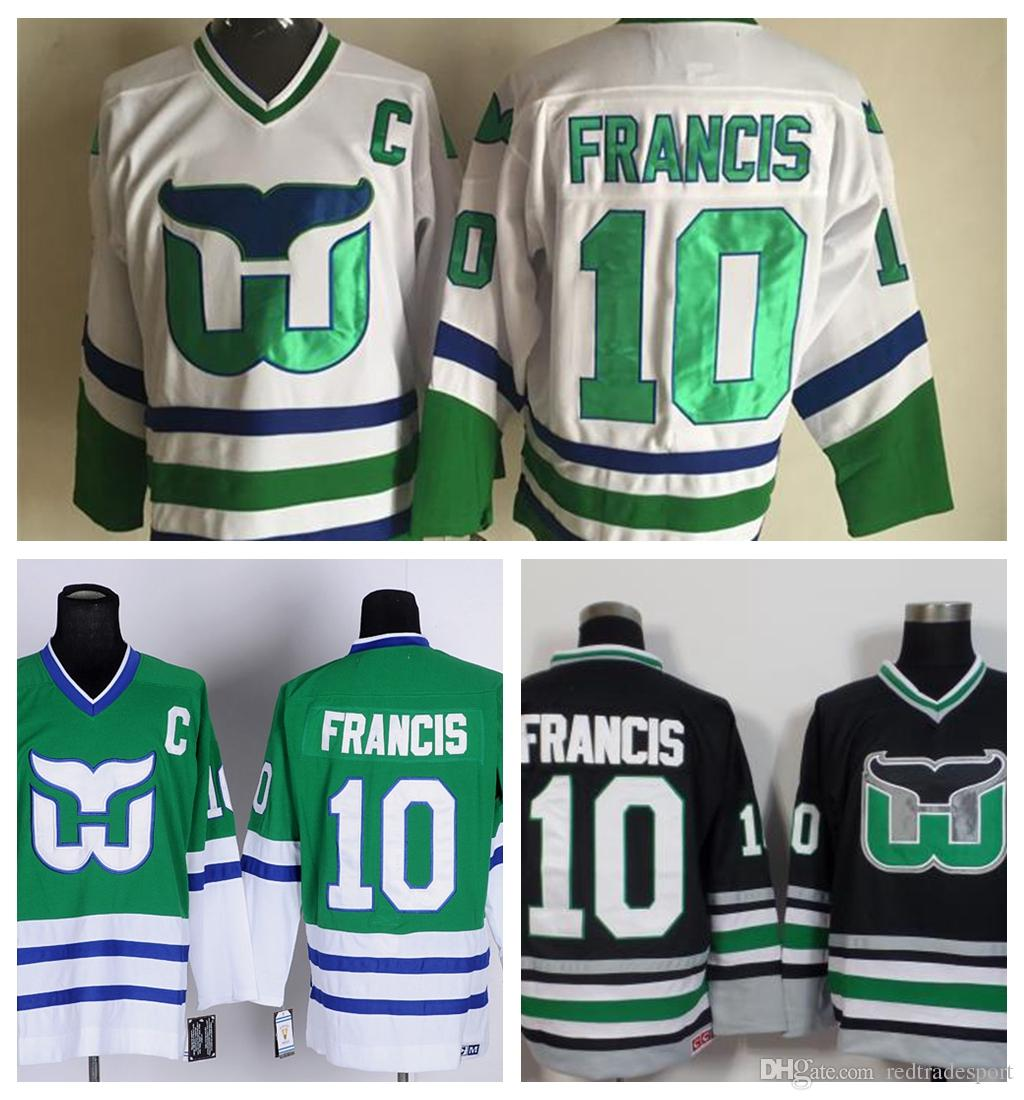 ... canada 2017 mens hockey hartford whalers 10 ron francis jersey  throwback green white black vintage stitched 204e66d55