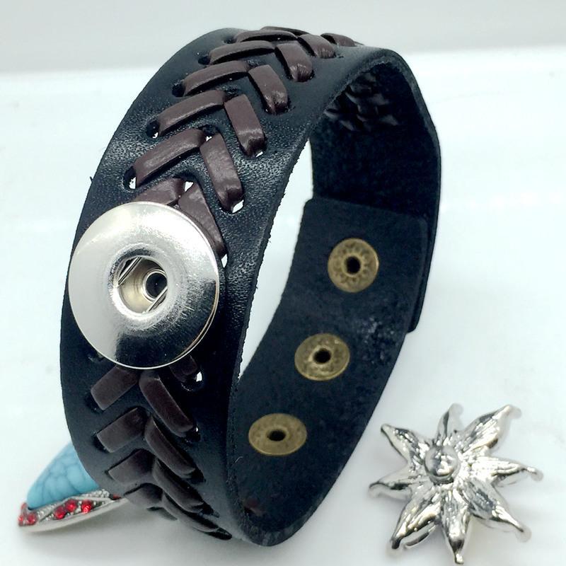Neue Heiße Verkauf Schwarz Braun Ingwer Snap Lederarmbänder 18mm Chunk Button Diy Snap Schmuck Fit 18 MM Druckknopf