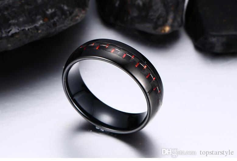 Less quantity acceptabel wholesales Black and Red Carbon Fiber inlay Domed Black tungsten ring 8mm