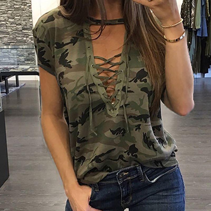 671b42d9e3c713 Großhandel Mode T Shirts Sexy Frauen Kleidung Sommer Kurzarm T Shirt Lose  Kleidung Lässig V Ausschnitt T Shirt Camouflage Weibliche Tops Von  Bidalina