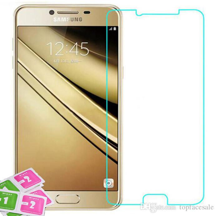 Pellicola proteggi schermo in vetro temperato Samsung Galaxy C7 Pro 5.7 '' Pellicola protettiva temprata con confezione da vendita