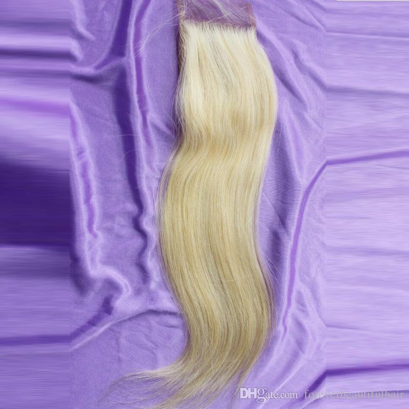 # 613 Bleach Blonde Lace Closure 4 * 4 pulgadas Swiss Lace Human Straight Closure Tres partes / Parte media / Parte libre