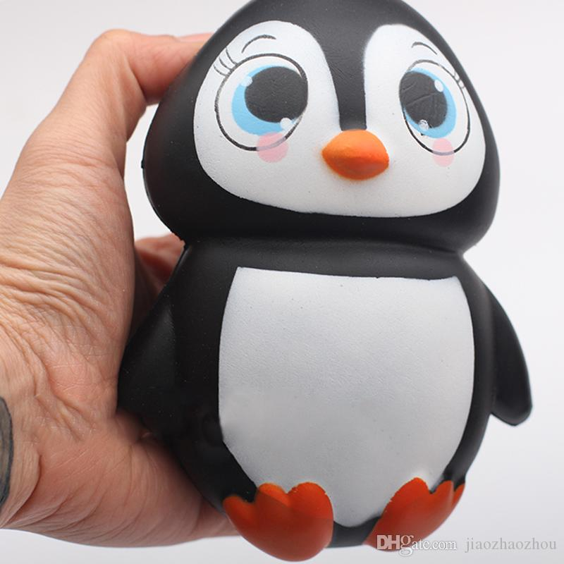 2017 New Brand 14CM Jumbo Kawaii Cute Penguin Squishy Slow Rising Phone Straps Soft Sweet Charm Scented Bread Cake kid Toy Gift