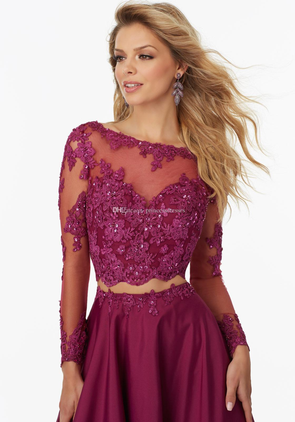 New Fashion Two Pieces Burgundy Lace Evening Dresses Long Sleeve Beaded See Through Back Prom Party Dresses Evening Wear Red Carpet Dresses