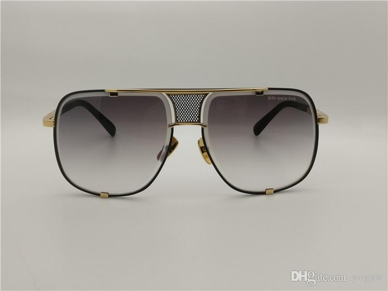 d6c8b45346 Mens Design Mach Five 2087 Sunglasses Gold Black Grey Gradient Lens ...