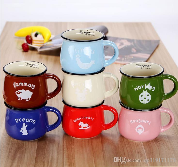 Wholesale big belly mug Multicolore Grande zakka ceramica tazza di latte colazione tazza di orzo flake cup big belly cup