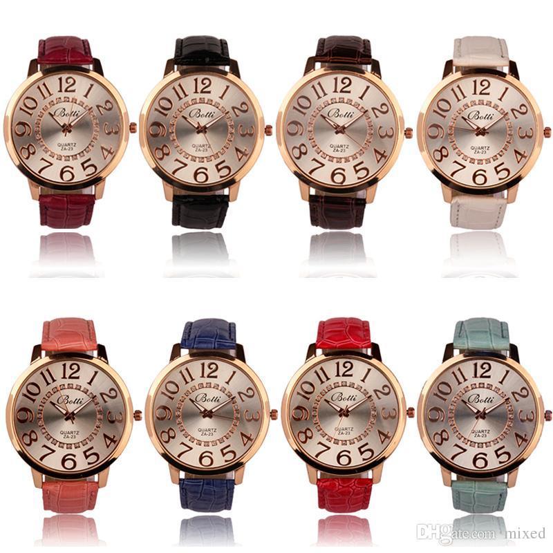 BOTTI женская мода повседневная красочные цифры золотой циферблат кожа аналоговые кварцевые часы Montre Femme