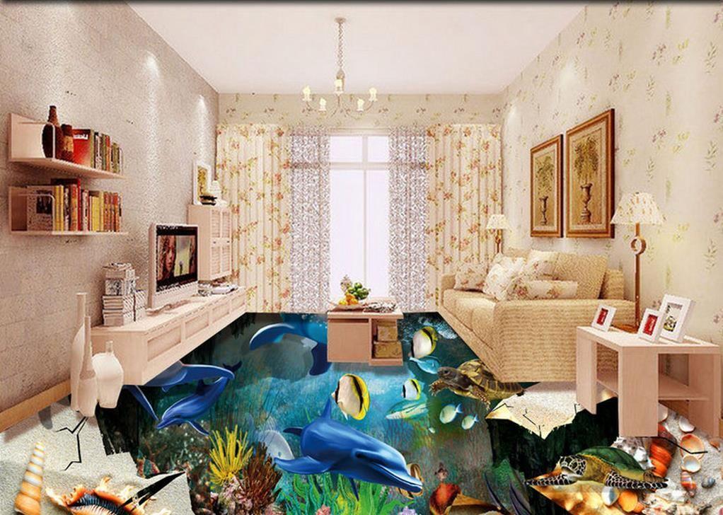Custom pvc flooring roll Ocean World 3d landscape wallpaper floor mural living room modern wallpaper for the bedroom 3d floor murals