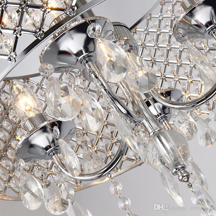 Lustre en cristal nordique américain lustres en cristal en cristal bon marché lumières fer salon, salle à manger, lumière de la chambre