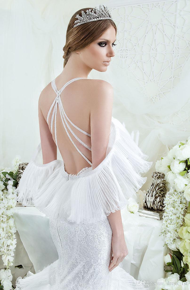화려한 2016 Dar Sara 레이스 홀터 십자가 뒤로 인어 웨딩 드레스 섹시한 Pleats 계층 형 트럼펫 예배당 열차 신부 가운 EN12122