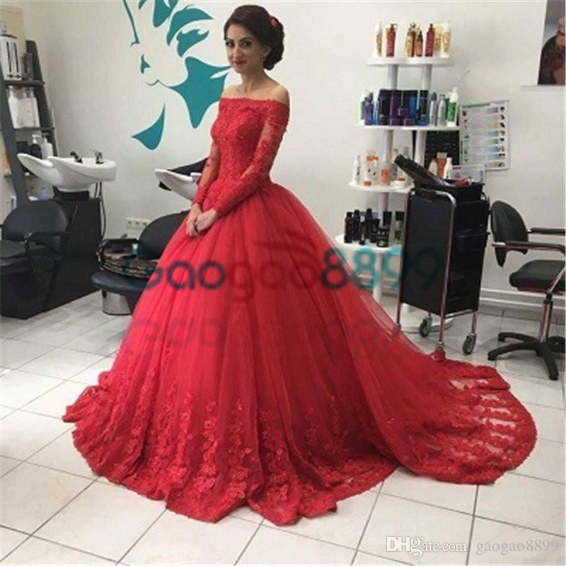 Vintage Red Ball Gown Lace Prom Dresses 2017 Modest Middle East Dubai Arabic Off-shoulder Long Sleeve Occasion Evening Princess Dress