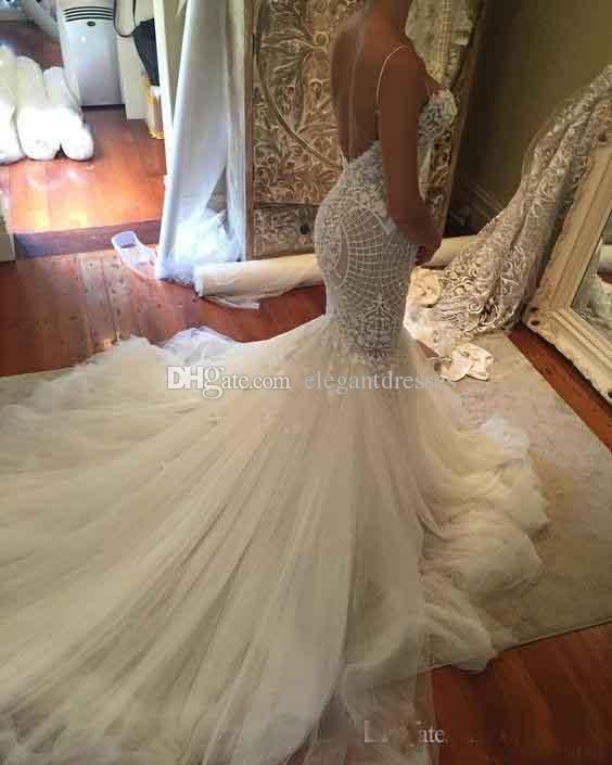 2021 Sexy Sirena Vestidos de boda sin respaldo Spaghetti Cuello de encaje Appliques Sin mangas Saudita Arabe Vestidos nupciales Beads Tren Vestido de novia
