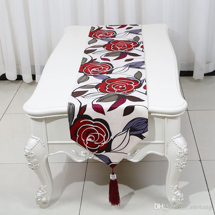 Multi size Rectangle Rose Flower Table Runner European American style Tea Table Cloth High End Silk Brocade Dining Table Protective Pads