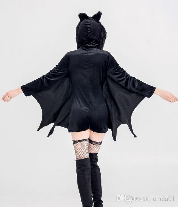 إمرأة جديد تأثيري اللباس الأسود بات مصاصي الدماء الشياطين تأثيري حلي الحيوان موضوع هالوين الملابس