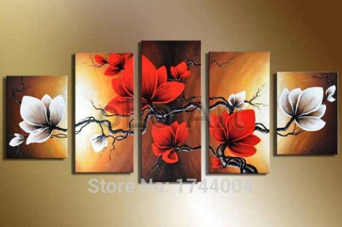 White flower oil wholesale image collections flower decoration ideas 100 hand painted set high quality red white flower oil painting on 100 hand painted set mightylinksfo