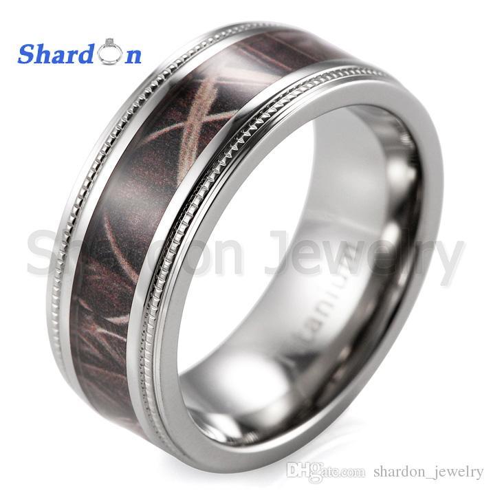 shardon mens 8mm gear edge titanium wedding band with dark bulrush camo inlay engagement rings for men ruby engagement rings from shardon_jewelry - Gear Wedding Ring