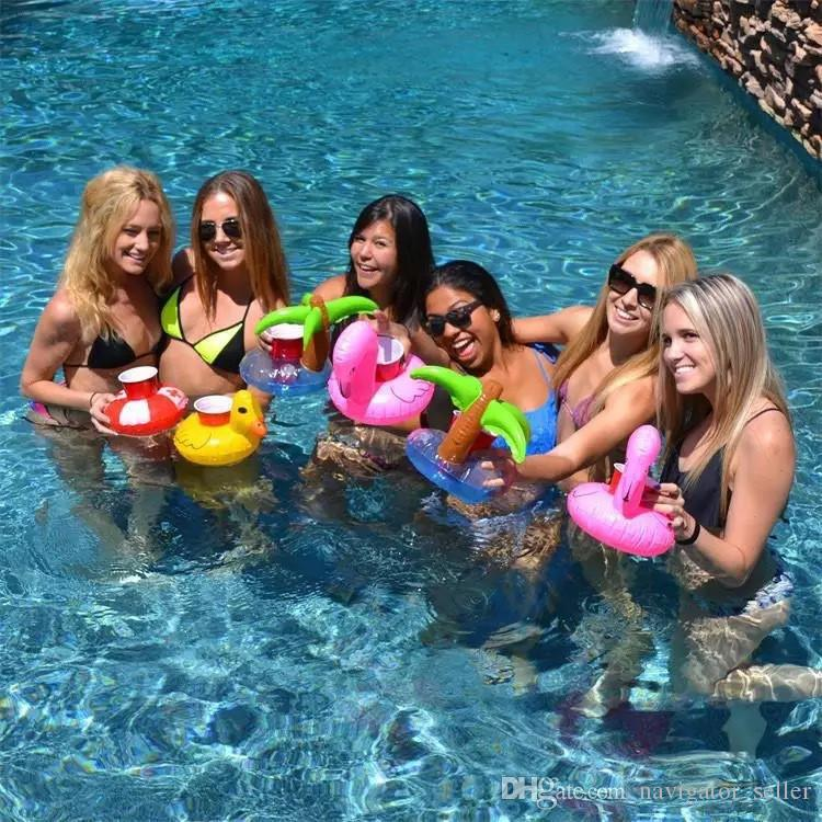 Flamingos Donut Watermelon Lemon Pineapple Coconut Trees Inflatable Drink Cup Holder Bottle Holder Floating Lovely Pool Bath Toy Beach Party