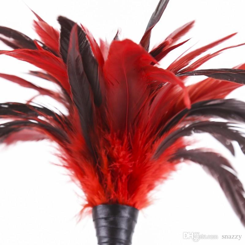 Фетиш порка для секс игры весло Красный куриное перо Ticklers прикладом задницу бить кнут связывание Flogger секс-игрушки для пар