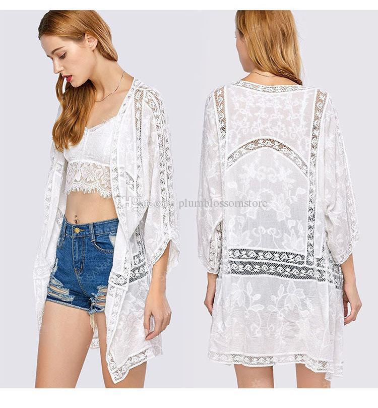 d0715ca68dfa5 2019 Women Summer Beach Bikini Cover Ups Crochet Hollow Loose Sunscreen  Cardigan Long Blouses Lace Embroidery Shirts Holiday Swimwear Beachwear  From ...