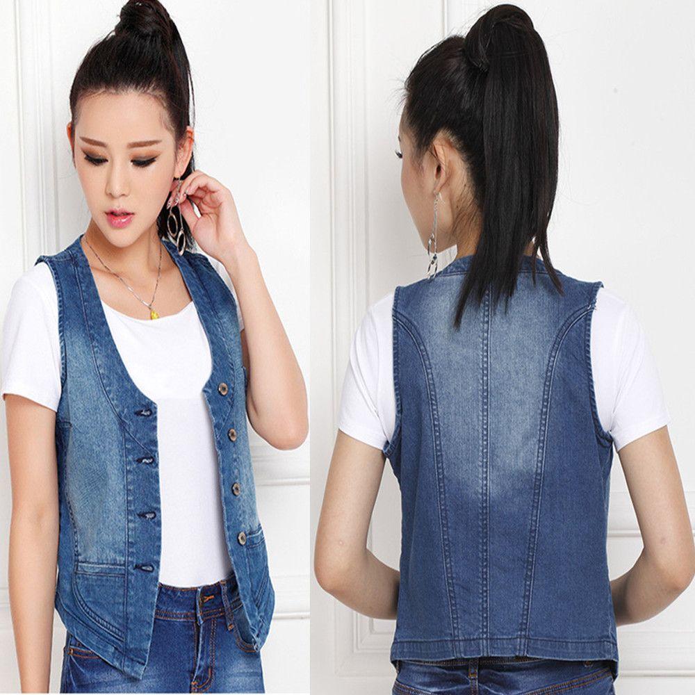 2019 Korean Casual Fashion Women Lady Girl Blue Slim Sleeveless