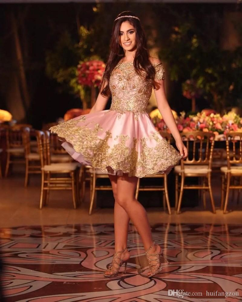 Shiny Prom Dresses Arabic Capped Sleeves off Shoulder Gold Lace Appliques Fashion Dresses Custom Made Cocktail Dresses