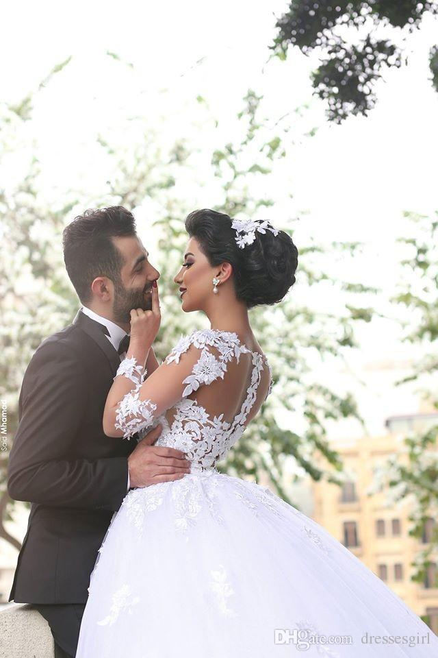 Ball Gown Wedding Dress Vintage Robe De Mariee Princesse Sheer Long Sleeves Muslim Wedding Dresses Long Bridal Gowns