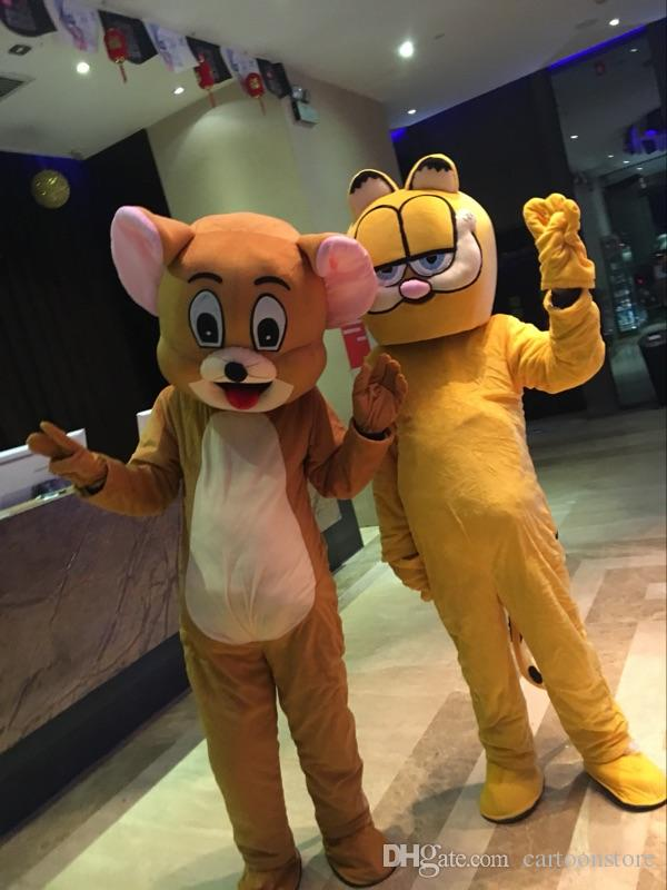 Calidad profesional Cat Tiger Mascot Costume Halloween Christmas Birthday Dress Tamaño adulto Jerry Mascot envío gratis