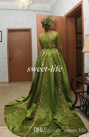 2019 Aso Ebi Style Lussuosi abiti da sera arabi Maniche lunghe Paillettes Cristalli Abiti lunghi Abiti da ballo in raso