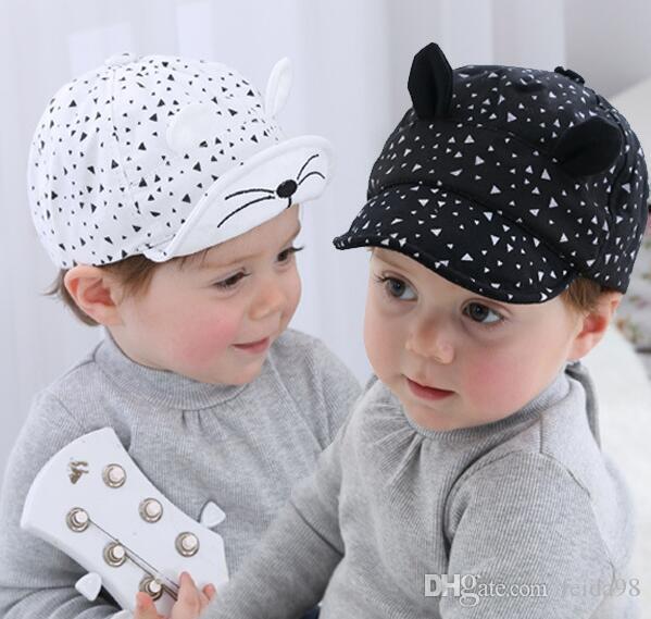 Baby Cartoon Cat Hat Berretto da baseball bambini Palm Berretto neonato Berretti in cotone morbido Berretti infantili Visiere Cappello da sole G596