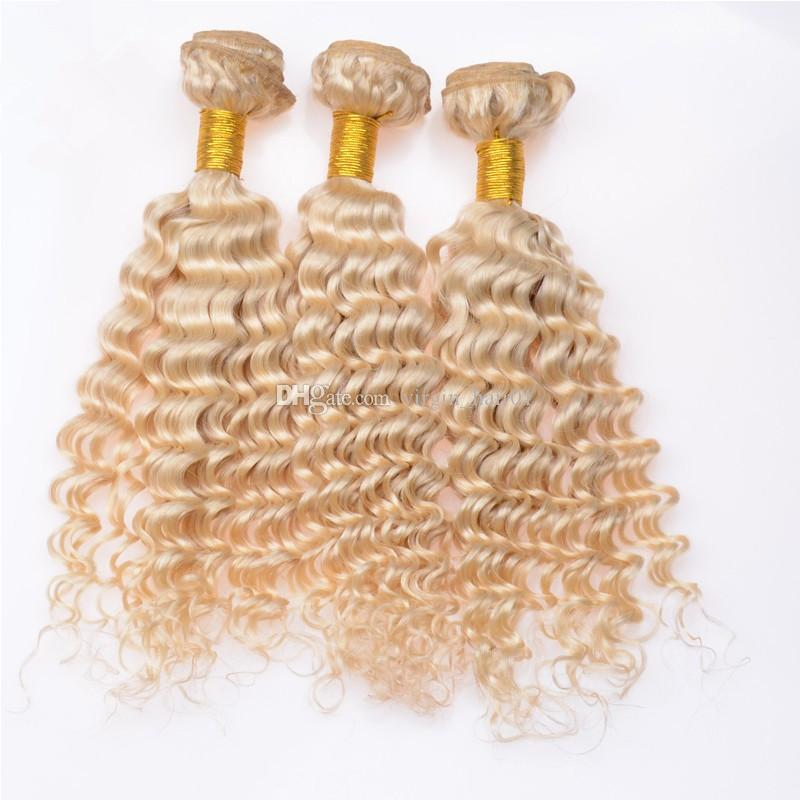 Deep Wave Blonde Hair Bundles #613 Light Blonde Human Peruvian Virgin Hair Deep Curly Hair Bundles Tight Curly For Sale