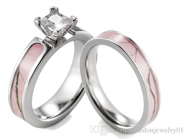2017 Shardon Pink Camo Ring Set Women Titanium 4 Prong Setting Cz