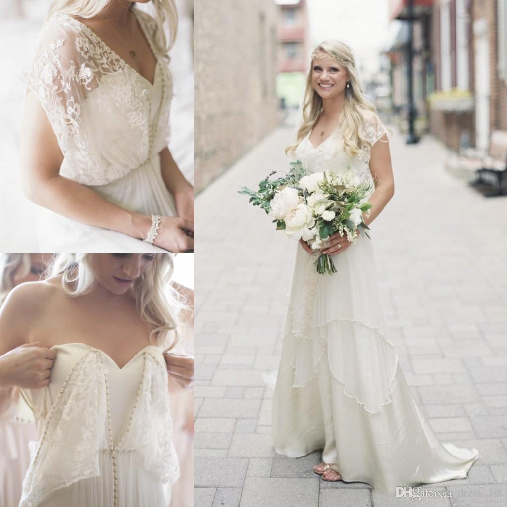 Discount Bohemian Ivory Lace V Neck Wedding Dresses 2017
