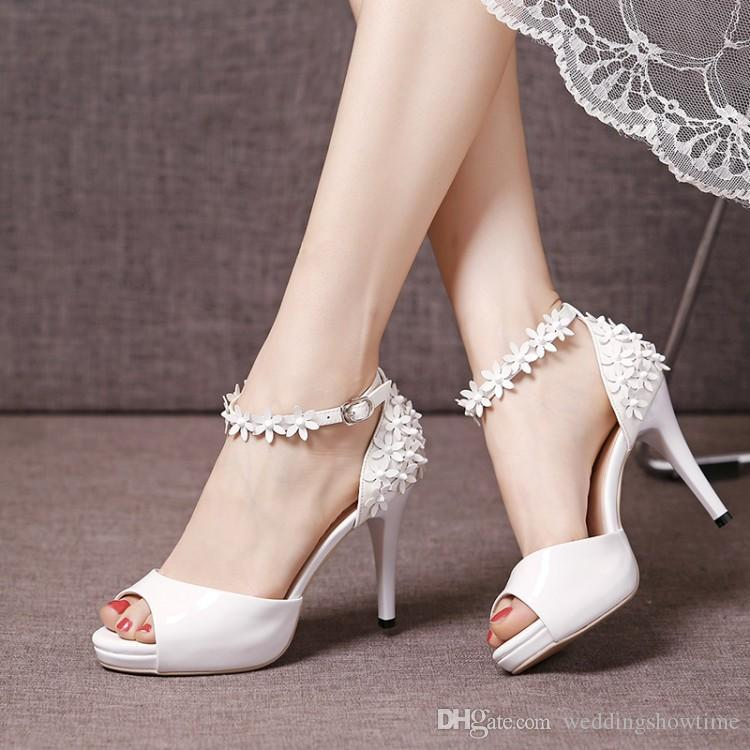 Fashionable 2017 Summer Ankle Straps High Heel Wedding Shoes Bridal Sandals With Handmade Flowers Cheap Women For Formal Occasion Online