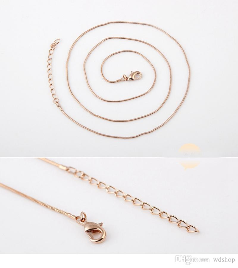 24 Inches Rose Gold Snake Chain Fit Floating Locket Necklace Long Chains High Quality Silver Gold Black DIY Jewelry Chains Accessories