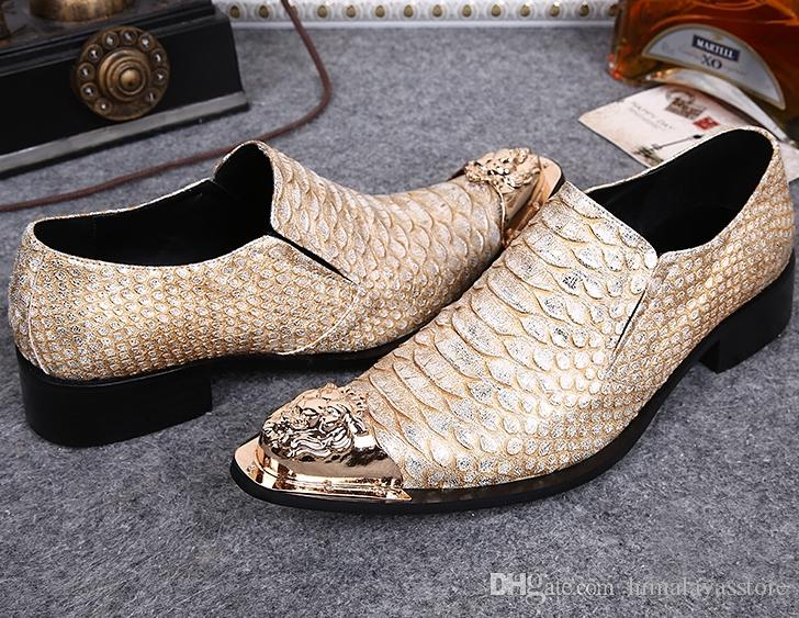 Men Leather Flats Shoes Pointed Toe Iron Head Scale Pattern Wedding Dress Leather Shoes Men Grain Leather Shallow Shoes