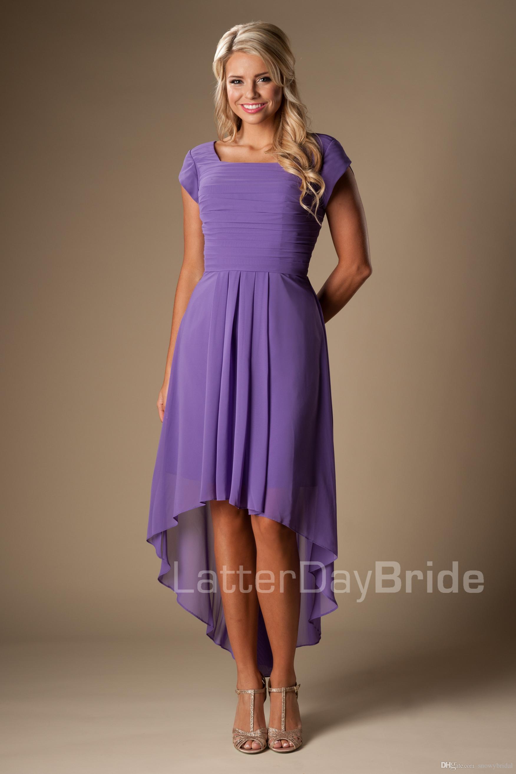 Compre Púrpura Alta Baja Hi Lo Modesto Vestidos De Dama De Honor Con ...