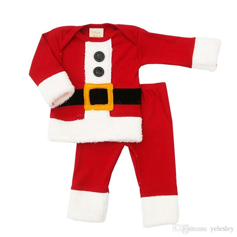 дети Рождественский подарок детские комбинезон новорожденных девочек мальчиков Санта-Клаус костюм наряд новорожденных мальчиков девочек ползунки дети костюм