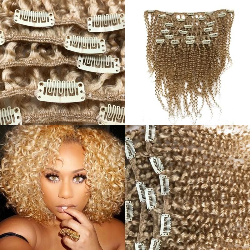 Brazilian Afro Kinky Curly Clip In Human Hair Extensions 613 Blonde