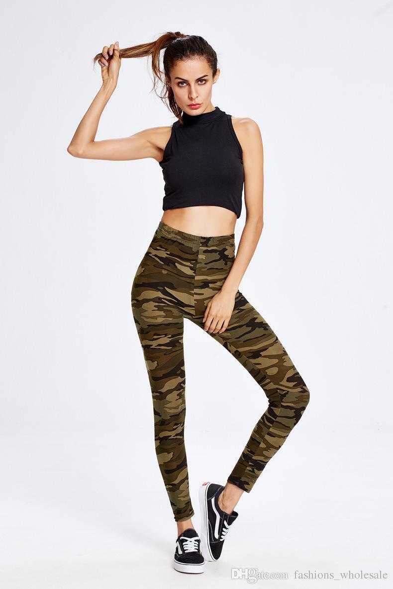 2017 Hot New Fashion mulheres Lápis Comprimento Calças Elásticas Na Cintura Livre Skinny camuflagem Esportes yoga calças