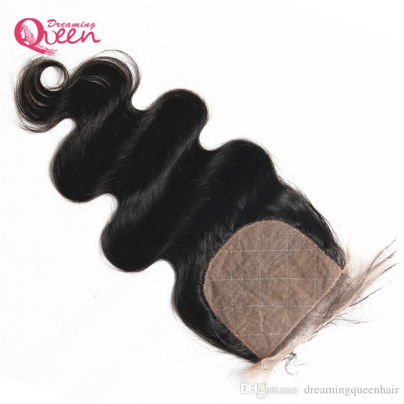 Brasilianische Körperwelle Silk Base Lace Closure Brasilianisches Reines Menschenhaar mit Baby-Haar 4x4 Seide Verschluss Mitte frei drei Teil Top Lace