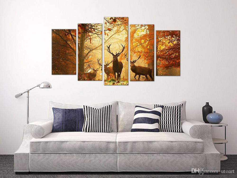 Modern Digital Picture Print on Canvas Animal Deer Custom Wall Frame Panels the Photo as 5 Parts Wall Art Images for Home Wall