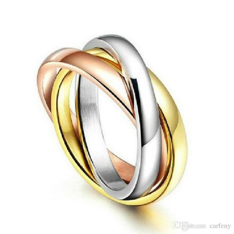 movable tri rings ring color stackable wedding cocktail diamond